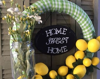 Lemon Wreath, Summer Wreath, Fun Wreath, Wreath