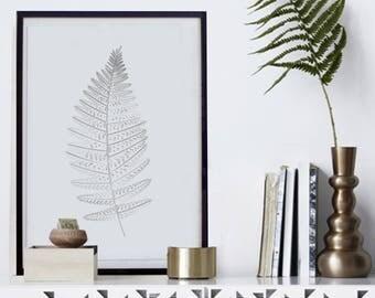 Affiche Plante Arbre Nature Poster Feuille Fougère Illustration Dessin Cadre Nature Affiche Déco Salon Hygge Affiche Zen Décoration Art