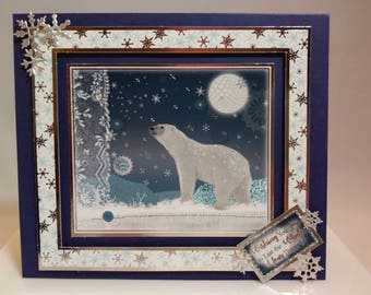 Polar Bear in the Snow Wishes You Joy to Last the Whole Year Through - 6 x 7  Christmas Holiday Card - Blank Inside
