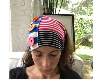 Pink, Black & White Striped Tube Hat w/ Buttons