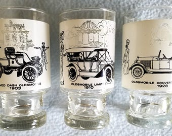 Beer Glasses, Early Oldsmobile History, Set of 3, (Or Singly)
