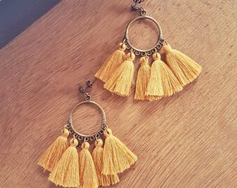 Earrings mustard tassel and metal Bronze (drilled)