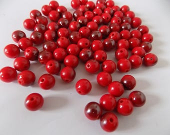 set of 90 red billante reflection Burgundy beads
