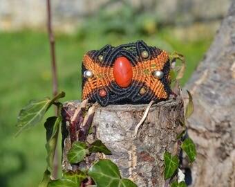 "Macrame stone bracelet ""LufRewop"" red Jasper"