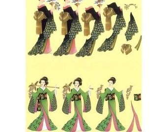 Chinoises robe verte/noire-PAR017