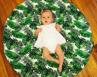 Baby Play Mat - Green Leaves