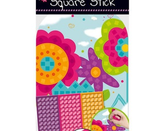 Set of mosaic adhesives for kids, collage, creation, decoration, flower, new