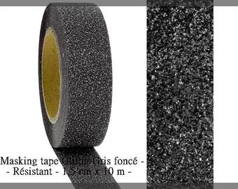 Glittery dark grey - 5 meters of masking tape - new roll
