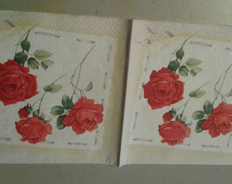 "Pretty NAPKIN ""Red Roses"" pattern"