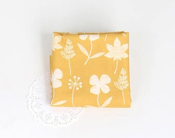 Sketch mustard yellow Flower 100% Cotton Fabric BY HALF YARD Floral leaf / flowers / leaves / drawing DTP906+