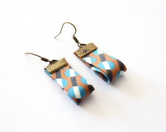 Earrings fabric edge geometric pattern