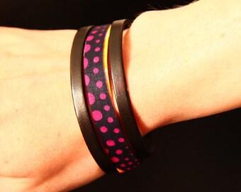 Bracelet leather - turmeric and wax