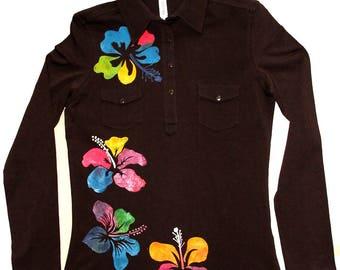 Hibiscus flower hand painted T-shirt