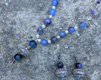 A soothing blue necklace and matching earrings handmade