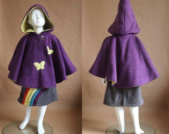 Lutine - Reversible fleece cape - 4 years - Purple and apple green