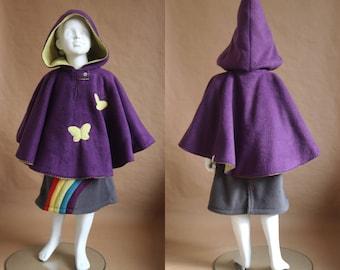 IMP - Fleece reversible Cape - 4 years - purple and Apple green