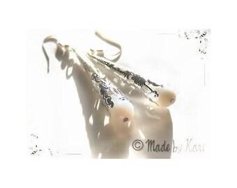 Earrings Crystal drops silver Vintage milky white