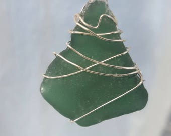 Sea Glass Pendant – Dk Green Authentic High Quality