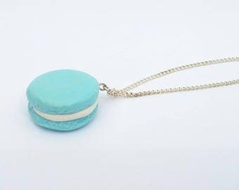 Blue polymer clay macaroon necklace
