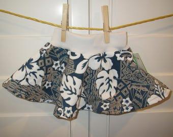 Blue Gray Hawaiian  Baby Skirt, Comfortable Circle Skirt, Size 6 months