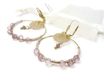 Hoop earrings pastel old pink thin light gold print