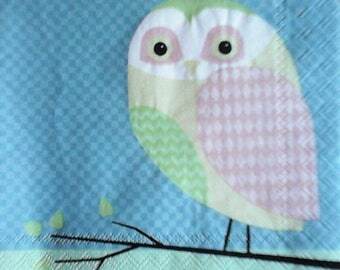 COCK145 the owls 1 paper cocktail napkin