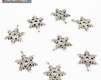 10 pendants snowflake 18 * 24 * 1.5 mm color silver