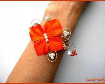 Bridal Butterfly Camille orange Silver White Pearl bridal bracelet