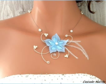 wedding flower Rivindu Necklace blue white feather Pearl silver wedding