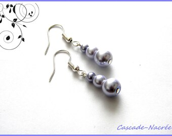 Purple mauve bridal earrings wedding Pearly beads