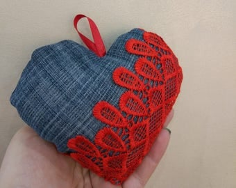 Denim heart  with red lace