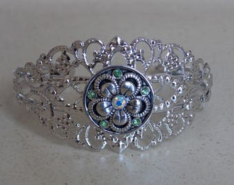 Silver metal flower snap button Snap bracelet