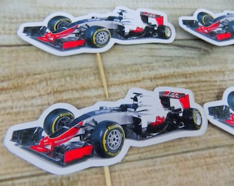 Formula 1 themed Cupcake Birthday, Celebration Toppers 6 pc