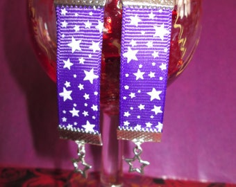 Earrings Purple Ribbon with stars and small star