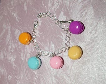 colorful macarons in polymer clay charm bracelet