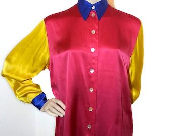THERESA K VINTAGE harlequin Blouse, 100% silk