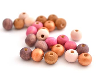 Mix of 25 beads, copper, pink, fuchsia, purple and Brown wood 8 mm round