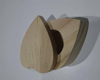 Blank wooden heart shaped jewelry box