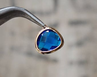 Faceted SAPPHIRE blue bezel set Charms pendants - September birthstone gold Plated 15 x 16 mm