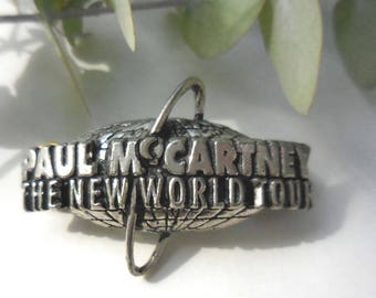 Paul McCartney and Wings 'The New World Tour 1993' Limited Edition lapel or hat pin, hat badge, collar badge, Heavy duty cast metal, Beatles