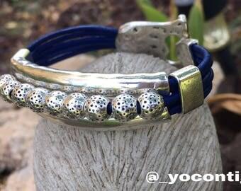 The 3 B's. Blue Beaded Bracelet.