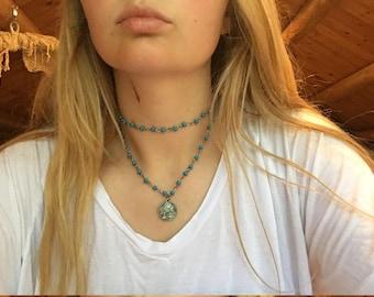 Blue double bead necklace