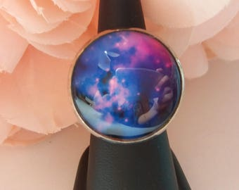 """Adjustable ring """"Avenue Milky, blue and pink..."""" 25mm cabochon"""
