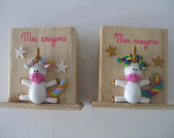 Jars with pencils in wood with unicorns and rainbows skies in polymer clay, sold individually