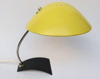 Desk lamp, table lamp, Emperor lamps, 60s, screen yellow foot black, nickel plated