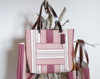 """Collection """"Lounger"""", striped canvas tote hand bag"""