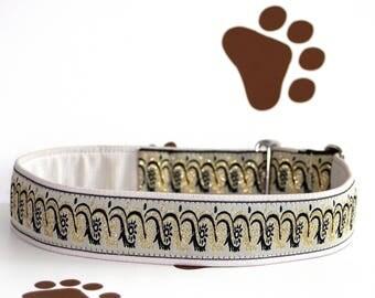 "Dog collar Jacquard ribbon Elegant ""Snow White Jewellery"" Design"