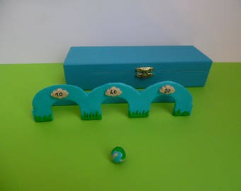 Polymer clay bead set in wooden box