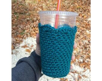 Teal Crochet Iced Coffee Cozy   Iced Coffee Cozy   Reusable Coffee Sleeve   Crochet Coffee Cup Sleeve Teal