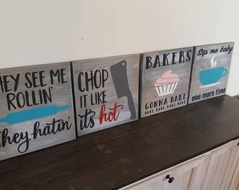 Set of 4 funny kitchen signs rustic